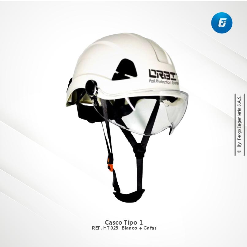 Casco Tipo 1  Blanco + Gafas
